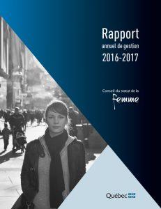 Couverture du Rapport annuel de gestion 2016-2017.