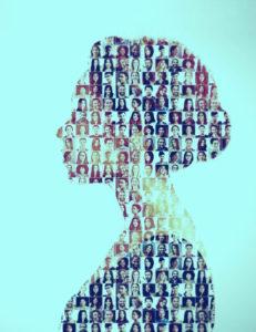 Collage de portraits de femmes et d'hommes